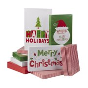 Holiday Time Red, Green, White Santa Printed Gift Boxes, Assorted Sizes, 10 Pack