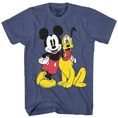 Mickey Mouse & Pluto Classic Distressed Vintage Dog Disney World Disneyland Funny Mens Adult Graphic Tee T-Shirt - Funny Family Disney Shirts
