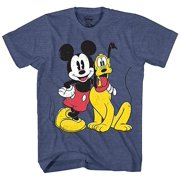 e455bc5a2 Mickey Mouse & Pluto Classic Distressed Vintage Dog Disney World Disneyland  Funny Mens Adult Graphic Tee
