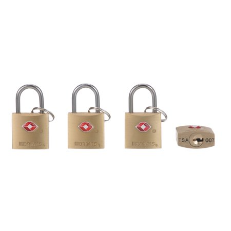 Brink's 22mm TSA Keyed Brass Padlock, 4-Pack