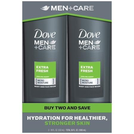 Dove Men+Care Body and Face Wash Extra Fresh 18 oz, Twin Pack
