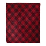 827550ae9ca98 SIDONKU Flannel Throw Blanket Plaid Red and Black Checkered Pattern  Geometric Wool Soft for Bed Sofa