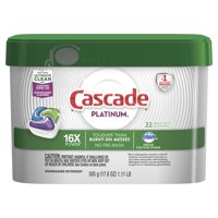 Cascade Platinum ActionPacs Dishwasher Detergent, Fresh, 32 count