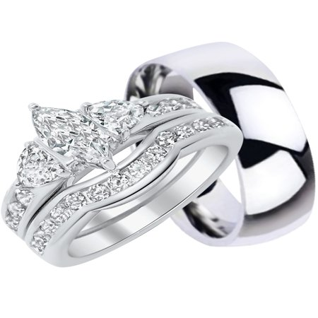Him Ring Set - His and Hers Wedding Ring Set Matching Trio Wedding Bands for Him (Titanium) and Her (Sterling Silver)