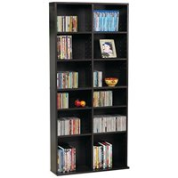 "Atlantic 54""x25"" Oskar 464 Adjustable Shelf Wood Media Storage Wall Bookcase (464 CDs, 228 DVDs, 276 BluRays), Espresso"