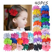 8d034f45ed01 40 PCS Baby Girls Ribbon Hair Bows Clips Multicolor Hairpin Hair Barrettes Hair  Accessories For Kids