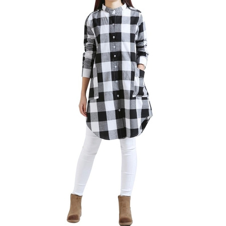 Babula Women Long Sleeve Button Down Plaid Check Shirt Tunic Mini - Button Dress Shirt