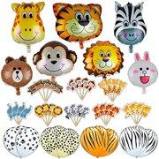 Jungle Animals Foil Latex Balloons Birthday Party Decorations Lion Tiger Monkey Zebra Giraffe Cow SAFARI ZOO