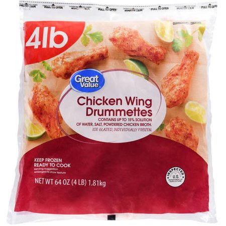 Great Value Chicken Wing Drummettes 4lbs Walmart