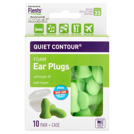 Moldex Flents Quiet Contour Foam Ear Plugs, 10 pair + case - Head Ear Plug