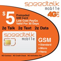 SpeedTalk Mobile T-Mobile Compatible Preloaded $5 Standard Micro and Nano Prepaid SIM Card