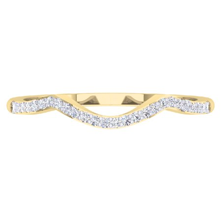 Dazzlingrock Collection 0.12 Carat (ctw) 10K Round Diamond Wedding Stackable Band Contour Guard Ring, Yellow Gold, Size 10