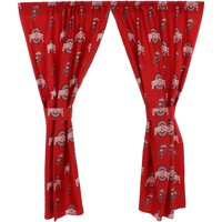 "Ohio State Buckeyes 100% Cotton, 63"" Curtain Panels, Set of 2"