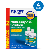 (4 Pack) Equate Sterile Multi-Purpose Contact Solution , 12 Oz, 2 Pk