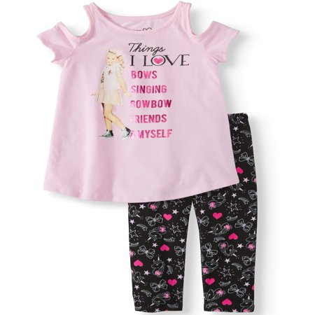 JoJo Cold Shoulder Tee and Capri Legging, 2-Piece Outfit Set (Little Girls & Big Girls)](Outfits Girl)