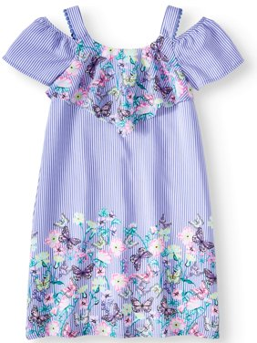 Overlay Border Print Dress (Little Girls, Big Girls & Big Girls Plus)