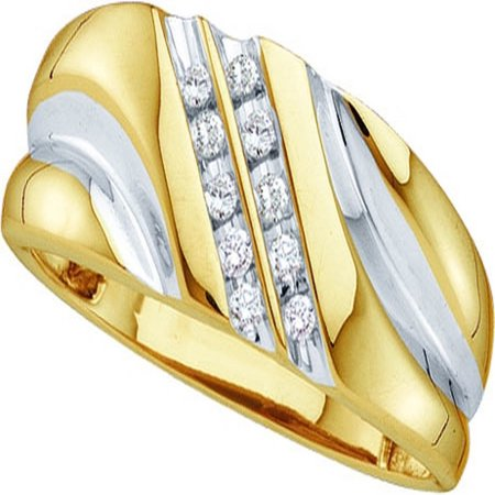 10kt Yellow Gold Mens Round Diamond 2-tone Wedding Anniversary Band Ring 1/8 - 2 Tone Diamond Wedding Band