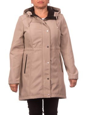 Women's Plus Size Soft Shell Hooded Zip Front Anorak