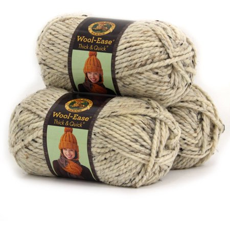- Lion Brand Wool Ease Thick and Quick Yarn, Wool/Acrylic Blend, Pack of 3