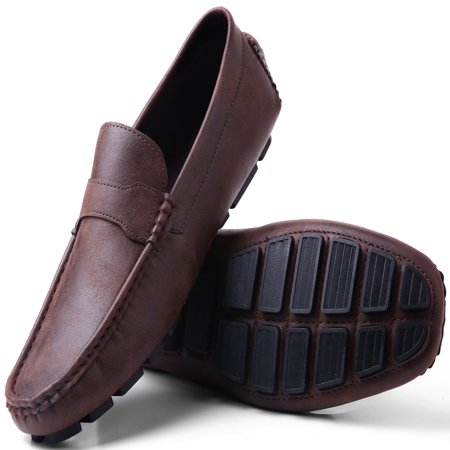 Gallery Seven Driving Shoes for Men - Casual Moccasin Loafers - Saddle Brown - US-7.5D(M)|UK-7|EU-40-42 - Saddle Shoe