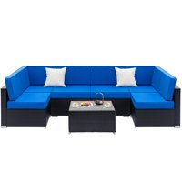 Zimtown 7PCS Outdoor Patio Garden Furniture Sectional Sofa Set