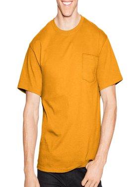 Men's Tagless Crew Neck Short Sleeve Pocket Tshirt
