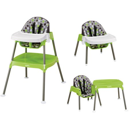 Evenflo 3-in-1 Convertible High Chair, Dottie Lime Acorn Back High Chair