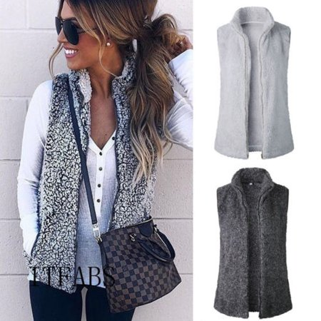 Women Vest Winter Warm Outwear Casual Faux Fur Zip Up Sherpa Jacket Coat