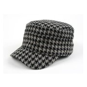 15e84393f9b Women s Hounds Tooth Checked Military Cadet Style Hat 305HT