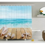Seashells Decor Shower Curtain Set, Wooden Boardwald With Seashells Resort Sunshine Vacations Maldives Deck Waves