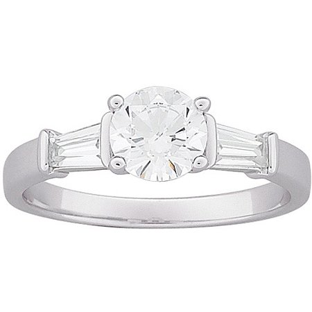 - 2.7 Carat T.G.W. Round and Baguette CZ Engagement Ring in Sterling Silver