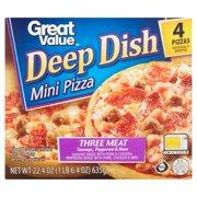 Great Value Three Meat Pizza, Deep Dish, Mini, 22.4 oz, 4 Count