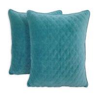 "Better Homes & Gardens Quilted Velvet Decorative Throw Pillow, 19"" x 19"", 2 Pack, Vanilla Dream"