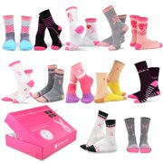 TeeHee Special (Holiday) 12-Pair Socks with Gift Box (9-11, Pink Ribbon-2)