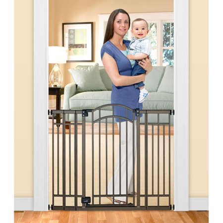 Home Safe Extra Tall Walk Through Decorative Baby Gate, (Standard Stainless Steel Gate)