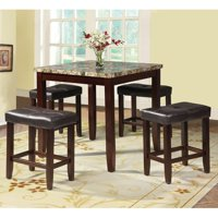 Acme Rolle 5-Piece Counter-Height Dining Set, Faux Marble and Espresso