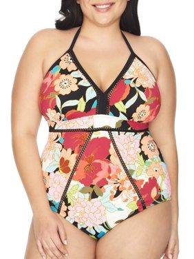 Women's Plus Size Floral One Piece Swimsuit