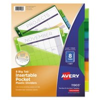 Avery Binder Pockets, Three-Hole Punched, 5 Assorted Colors (75254)