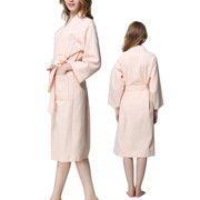 b2ccf30de5 Lady Cotton Waffle Kimono Bathrobe Belted Spa Robe Knee-length Sleepwear  Pink L