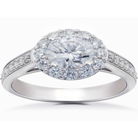 Diamond Halo 2 Carat Engagement Ring Solitaire Round Brilliant 14k