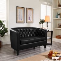 Modway Prospect Tufted Leatherette Loveseat, Black