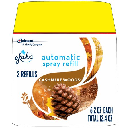 Glade Automatic Spray Air Freshener Refill, Cashmere Woods , 2 refills, 12.4