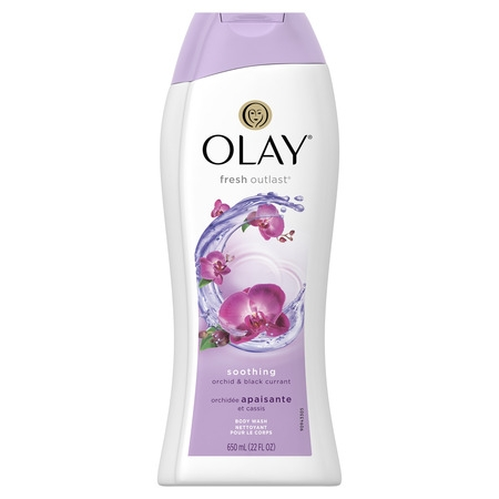 - Olay Fresh Outlast Soothing Orchid & Black Currant Body Wash 22 oz