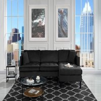 Product Image Mid Century Modern Tufted Velvet Sectional Sofa, L Shape Couch  (Black)