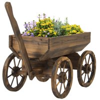 Best Choice Products Garden Wood Wagon Flower Planter Pot Stand With Wheels Home Outdoor Decor