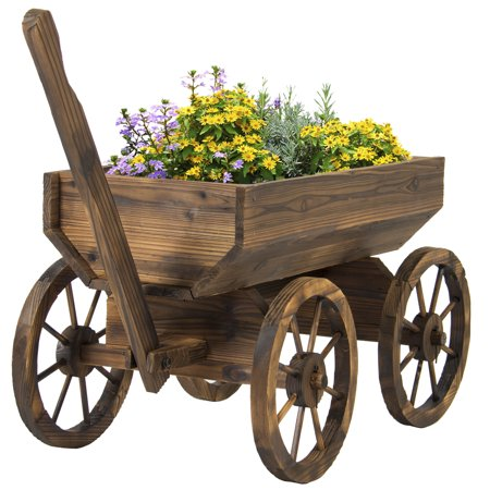 Best Choice Products Garden Wood Wagon Flower Planter Pot Stand With Wheels Home Outdoor (Flower Pots Spinner)