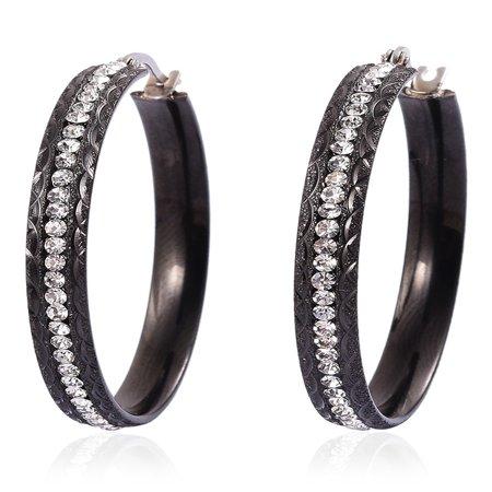 Crystal Hoops, Hoop Fashion Earrings Stainless Steel Jewelry Gift for Women (Black/ Multi Color) ()