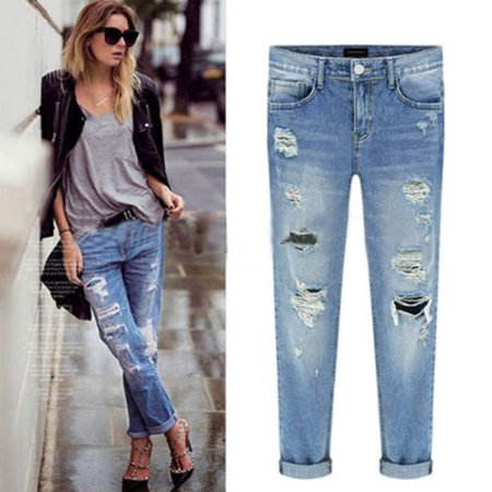 Womens Ripped Hole Straight Boyfriend Jeans Vintage Distressed Denim Skinny Long Pants Faded