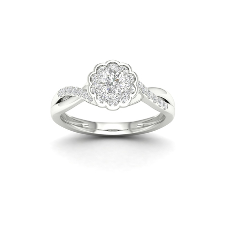 1/3Ct TDW Diamond 10K White Gold Flower Burst Twist Shank Engagement Ring (I-J, I2) (White Diamond Twist Ring)