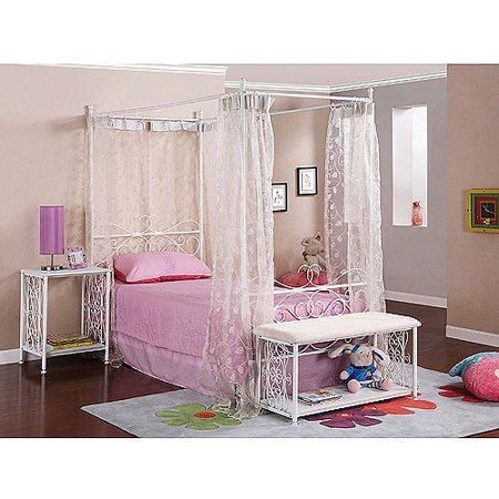 Powell Canopy Wrought Iron Princess Twin Bed Multiple Colors